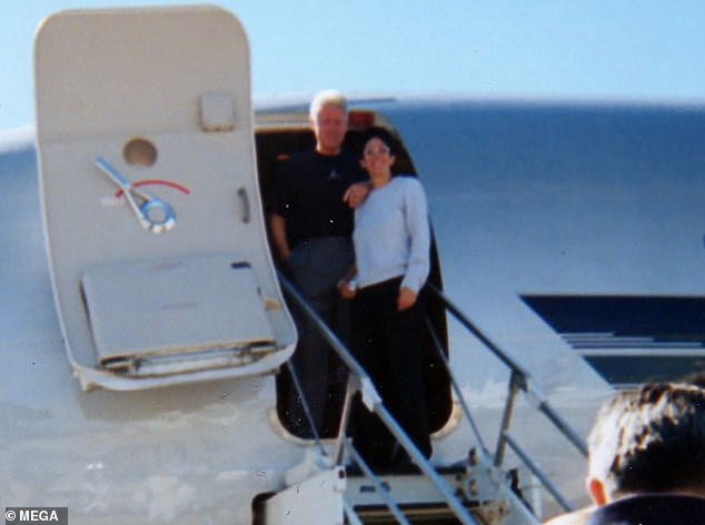 Bill Clinton photographed alongside Ghislaine Maxwell on the private plane of Jeffrey Epstein