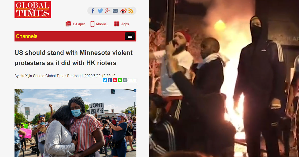 The communist controlled state news agency published this article with the headline 'US should stand with Minnesota violent protesters as it did with HK rioters'